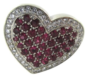 14K WHITE GOLD 40 GENUINE DIAMOND RING HEART RUBY FINE JEWELRY 13.5 GRAMS SZ 6.5
