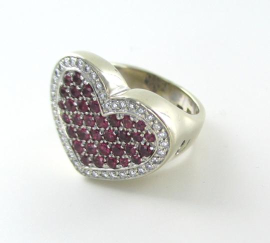 Other 14K WHITE GOLD 40 GENUINE DIAMOND RING HEART RUBY FINE JEWELRY 13.5 GRAMS SZ 6.5 Image 1
