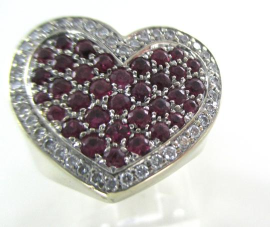 Other 14K WHITE GOLD 40 GENUINE DIAMOND RING HEART RUBY FINE JEWELRY 13.5 GRAMS SZ 6.5 Image 10