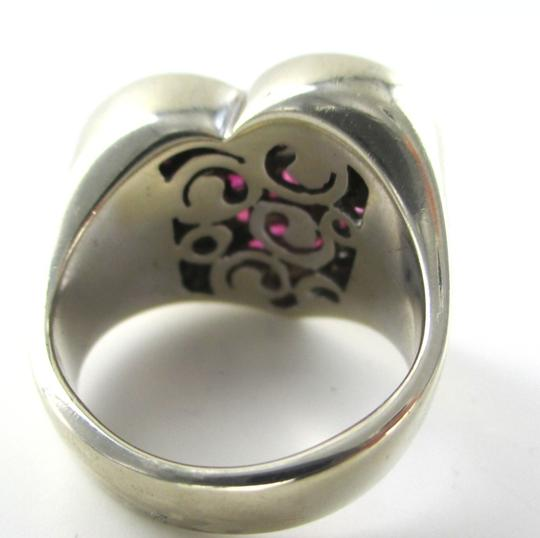Other 14K WHITE GOLD 40 GENUINE DIAMOND RING HEART RUBY FINE JEWELRY 13.5 GRAMS SZ 6.5 Image 2