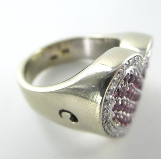 Other 14K WHITE GOLD 40 GENUINE DIAMOND RING HEART RUBY FINE JEWELRY 13.5 GRAMS SZ 6.5 Image 3