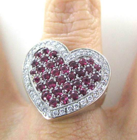 Other 14K WHITE GOLD 40 GENUINE DIAMOND RING HEART RUBY FINE JEWELRY 13.5 GRAMS SZ 6.5 Image 4