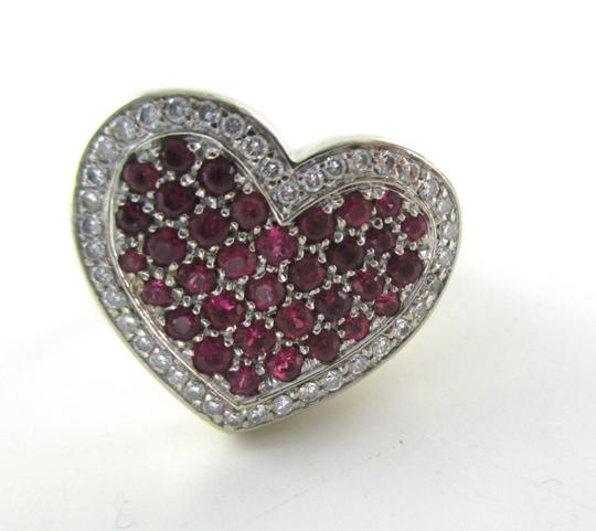 Other 14K WHITE GOLD 40 GENUINE DIAMOND RING HEART RUBY FINE JEWELRY 13.5 GRAMS SZ 6.5 Image 5