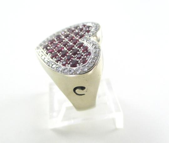 Other 14K WHITE GOLD 40 GENUINE DIAMOND RING HEART RUBY FINE JEWELRY 13.5 GRAMS SZ 6.5 Image 6