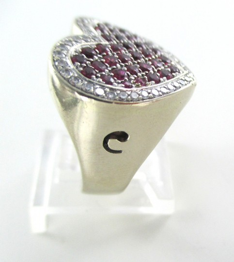 Other 14K WHITE GOLD 40 GENUINE DIAMOND RING HEART RUBY FINE JEWELRY 13.5 GRAMS SZ 6.5 Image 7