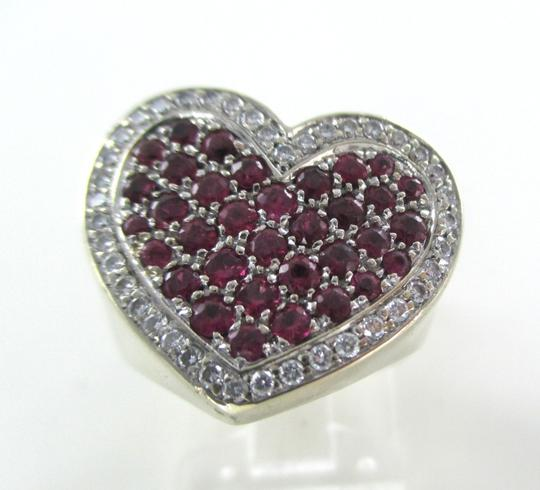 Other 14K WHITE GOLD 40 GENUINE DIAMOND RING HEART RUBY FINE JEWELRY 13.5 GRAMS SZ 6.5 Image 8
