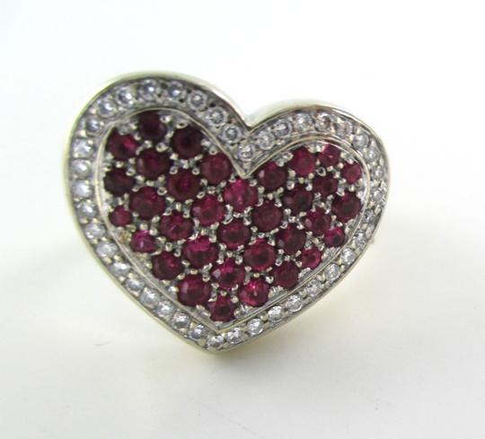 Other 14K WHITE GOLD 40 GENUINE DIAMOND RING HEART RUBY FINE JEWELRY 13.5 GRAMS SZ 6.5 Image 9