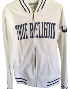 True Religion white and dark blue line Jacket