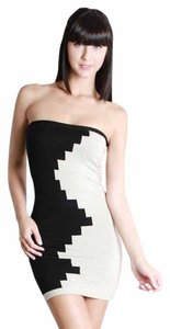 Nikibiki short dress Black And Cream Strapless Sweater Mosaic Contrast on Tradesy