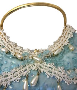 Les Bernard unsigned Something Blue Pearls Wedding Special Occasion Wristlet in Light blue