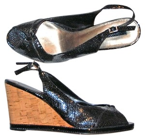 Bandolino Reptile Wedge Black Patent Snake Cork Wedges