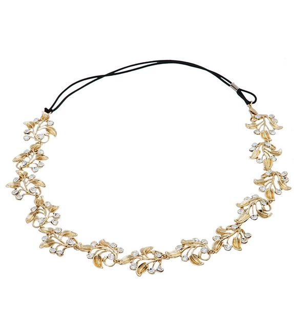 Item - Gold Ivy Floral Crystal Element Hairpiece Hair Accessory