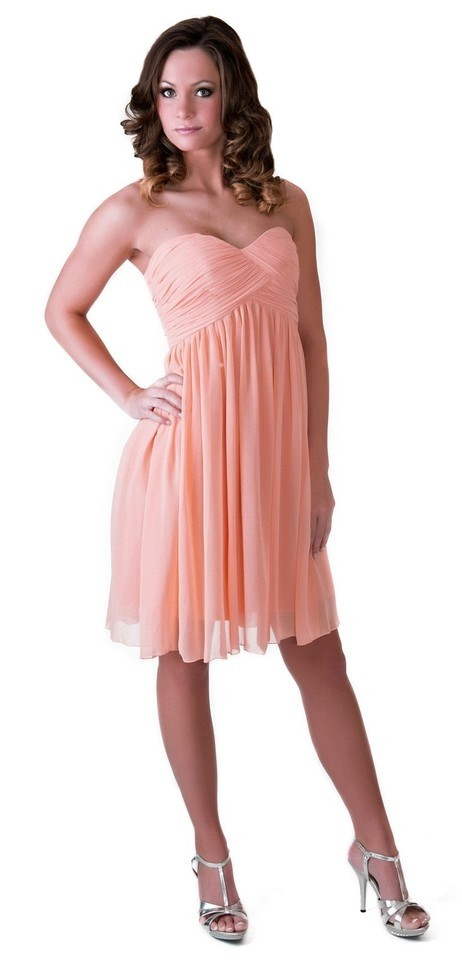 Peach Strapless Sweetheart Pleated Bust