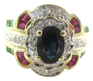 14K SOLID YELLOW GOLD RING 26 DIAMONDS .40CT AE SAPPHIRE RUBIES ESMERALD RUBY