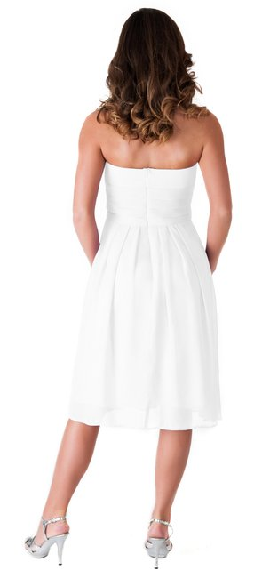 Other Strapless Sweetheart Pleated Chiffon Dress Image 1