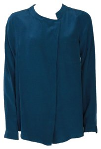 LAmade Anne Silk Button Down Shirt Top Blue