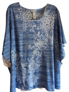 Catherines Top Blue w/White Pattern