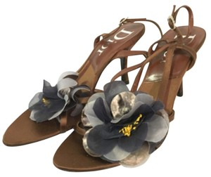 Dior Christian Pumps Night Out Heels Strappy Brown Sandals