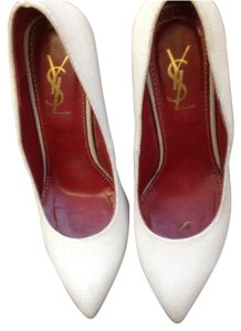 YVES ST LAURANT white with multi colour heels Pumps