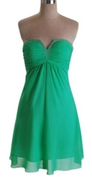 Preload https://item1.tradesy.com/images/green-strapless-beaded-chiffon-above-knee-cocktail-dress-size-6-s-119305-0-0.jpg?width=400&height=650