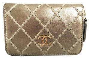 Chanel 2015 Special Edition Zippy Gold Tone Quilted Leather Wallet