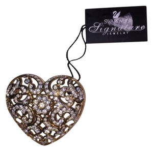 Swarovski Puffy Heart Brooch Pin