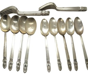 Frank Whiting Lot of 15 Frank Whiting Princess Ingrid Sterling Silver Flatware Forks & Spoons