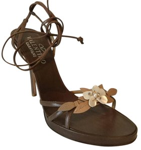 Valentino Shell Floral Strappy Tan Beige Leather Sandals