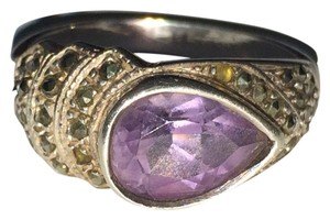 VINTAGE Sterling Silver 925 Pear Shaped Amethyst Ring Size 9 STUNNING