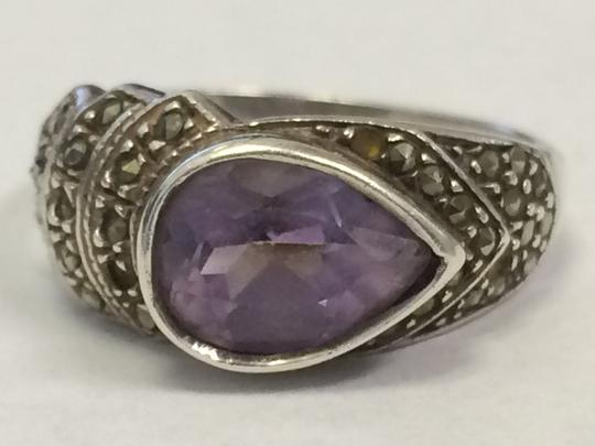 Other VINTAGE Sterling Silver 925 Pear Shaped Amethyst Ring Size 9 STUNNING Image 5