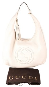 Gucci Off White Leather Hobo Shoulder Bag