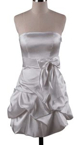 White Strapless Satin Pickup Dress Dress