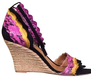 Lanvin Pink, Black And Yellow Wedges