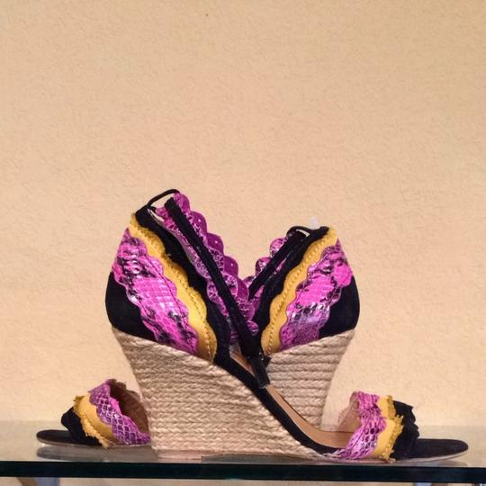 Lanvin Pink, Black And Yellow Wedges Image 1