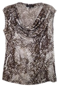 Jones New York Stretch Poly/Spandex Cowlneck Sleeveless Top Brown Taupe & Ivory
