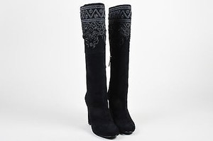 Etro Suede Embroidered Black Boots