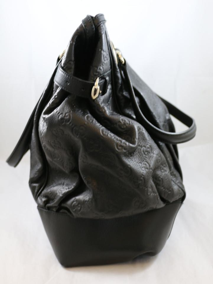 2fea098af25fc7 Gucci Guccissima Leather Full Moon Grand Embossed Tote in Black Image 9.  12345678910