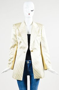 Escada Escada Gold Silk Metallic Quilted Checkered Long Sleeve Blazer Jacket