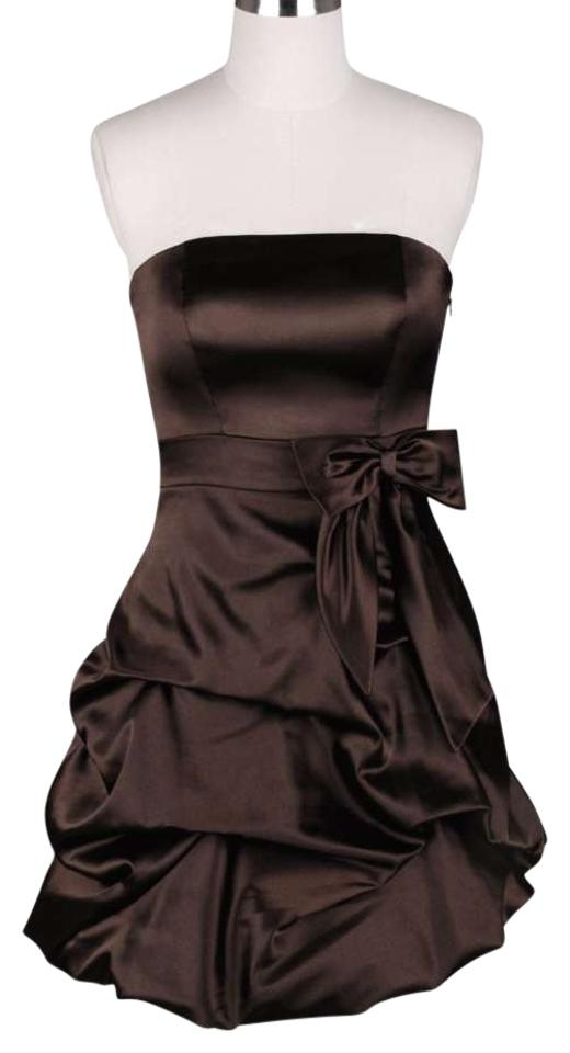 Brown Chocolate Strapless Satin Pickup Above Knee Formal Dress Size