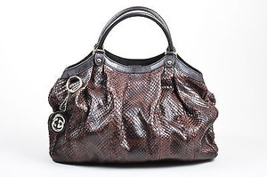 Gucci Black Gold Tone Python Sukey Hobo Bag