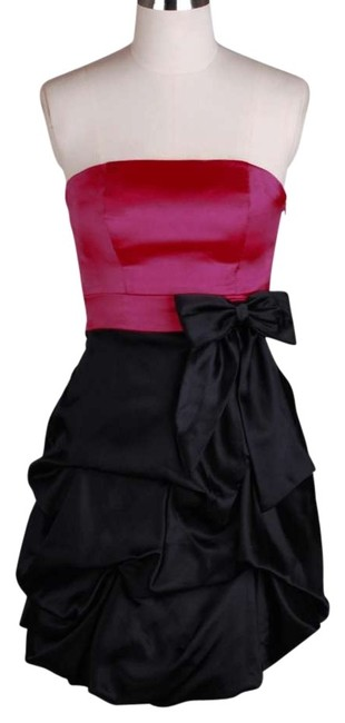 Preload https://item4.tradesy.com/images/pink-black-colorblock-strapless-satin-pickup-above-knee-cocktail-dress-size-12-l-119328-0-0.jpg?width=400&height=650