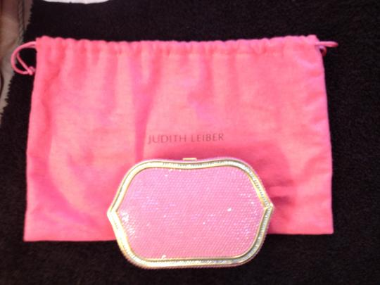 Judith Leiber Minaudiere Crystal Embellished Pink & Gold Clutch