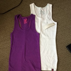 Aritzia Racerback Activewear Ribbed Top Violet & white