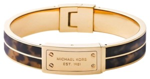 Michael Kors Tortoise & Gold Hinged Bangle Bracelet