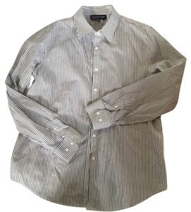 Jones New York Button Down Shirt White/Black