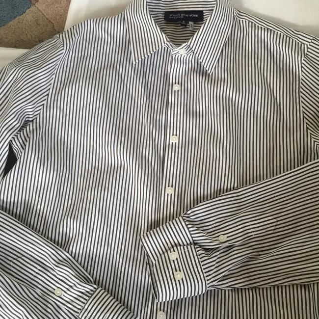 Jones New York Button Down Shirt White/Black Image 1