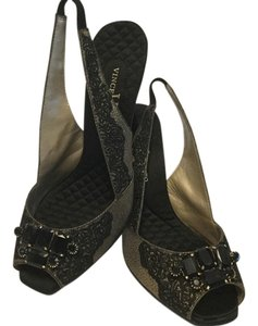 Vince Camuto Slingback Jewels In Front Gold & black Pumps