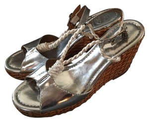 Tory Burch Metallic Silver Wedges
