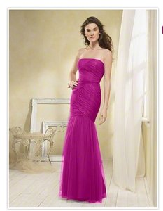 Alfred Angelo Fuchsia Tulle Style 8609 Formal Bridesmaid/Mob Dress Size 4 (S)