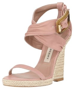 Burberry Dusty Rose Leather Nude Wedges